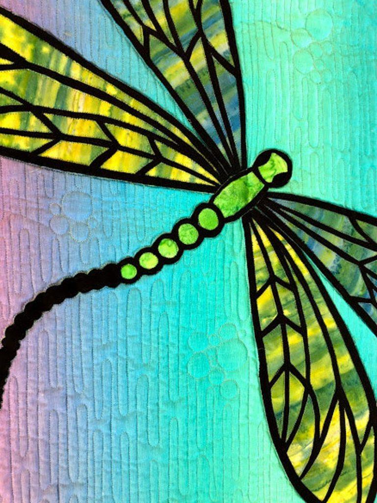 Dragonfly Art Quilt by Ritu Haldar of Designs by RSH in Cool colors
