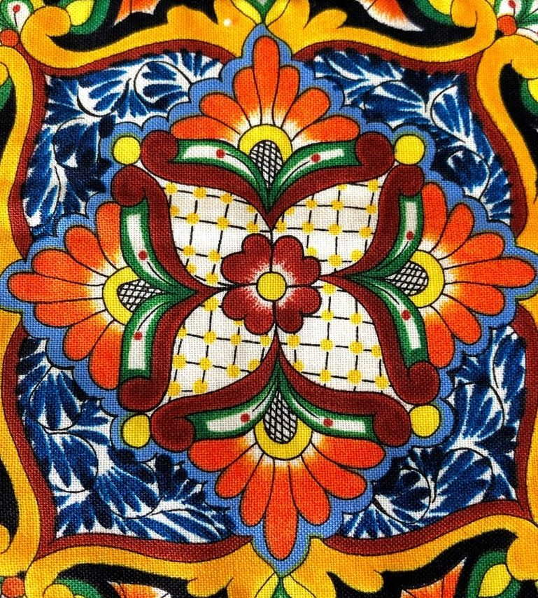 Talavera Tiles inspired quilted wall hanging close up of single block shows how one maker is selling quilts on Etsy