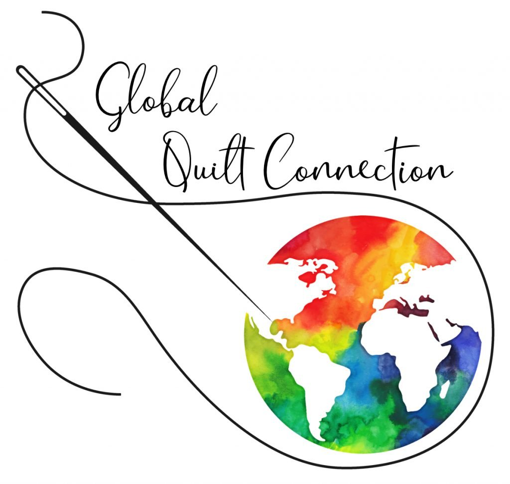 Shows Global Quilt Connection Logo where people go to find people who are teaching quilting online