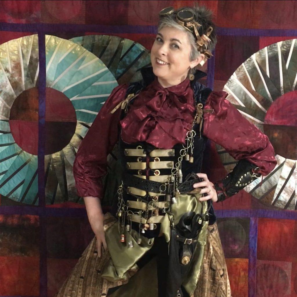 Virtual Quilting Teacher Lyric Montgomery Kinard in Steampunk Seamstress Attire