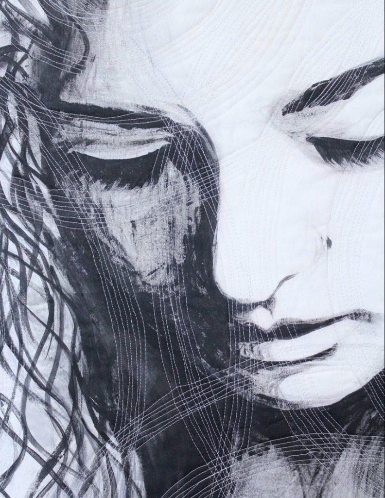 Art quilt featuring virtual quilting teacher, lyric Kinard's daughter