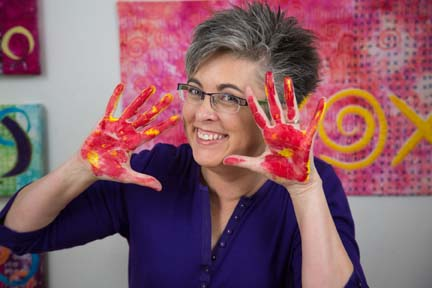 Show Lyric Kinard in her class Print Paint Play where she can make money as a quilting teacher